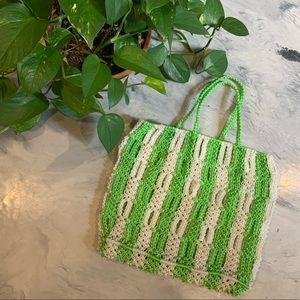 VTG Green & White Macrame Large Handbag